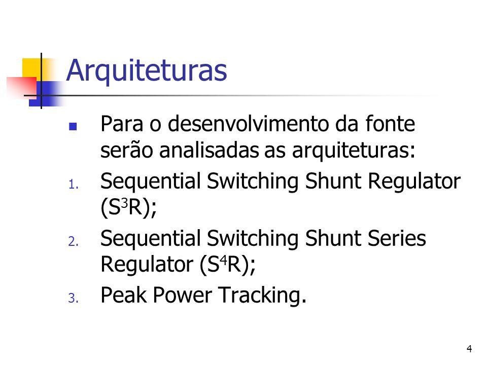 4 Arquiteturas Para o desenvolvimento da fonte serão analisadas as arquiteturas: 1. Sequential Switching Shunt Regulator (S 3 R); 2. Sequential Switch