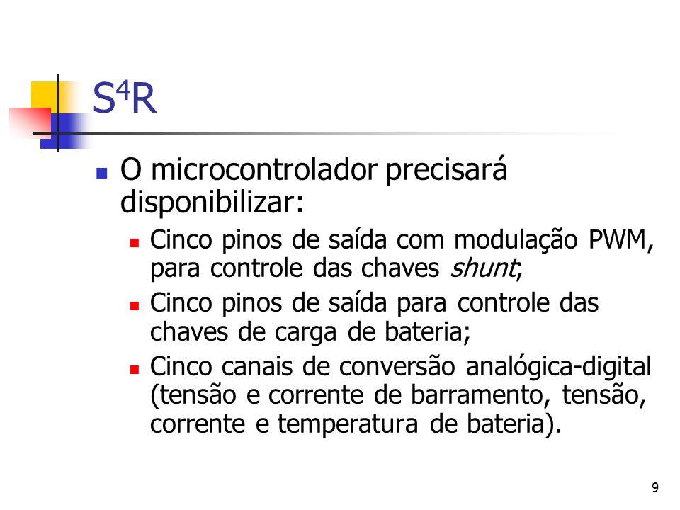 9 S4RS4R O microcontrolador precisará disponibilizar: Cinco pinos de saída com modulação PWM, para controle das chaves shunt; Cinco pinos de saída par