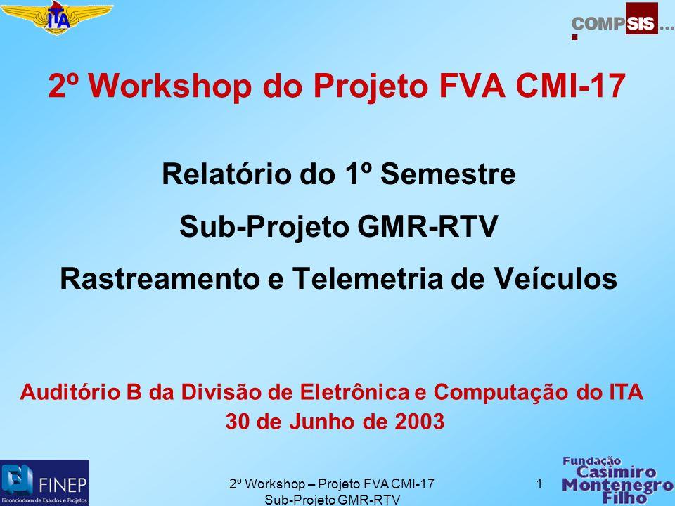 2º Workshop – Projeto FVA CMI-17 Sub-Projeto GMR-RTV 1 2º Workshop do Projeto FVA CMI-17 Relatório do 1º Semestre Sub-Projeto GMR-RTV Rastreamento e Telemetria de Veículos Auditório B da Divisão de Eletrônica e Computação do ITA 30 de Junho de 2003
