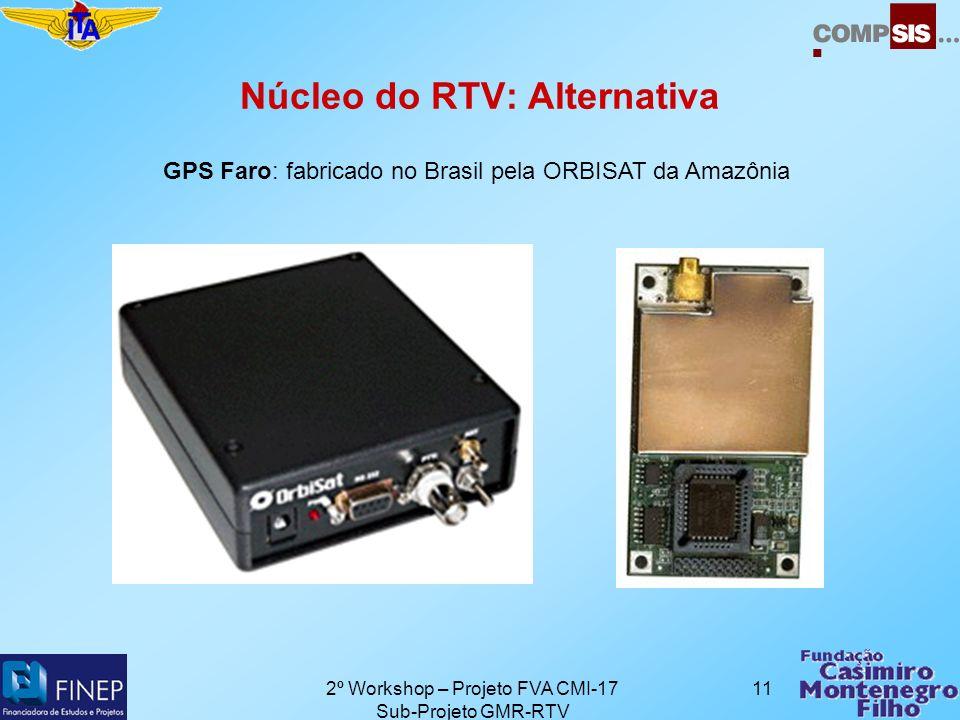 2º Workshop – Projeto FVA CMI-17 Sub-Projeto GMR-RTV 11 Núcleo do RTV: Alternativa GPS Faro: fabricado no Brasil pela ORBISAT da Amazônia