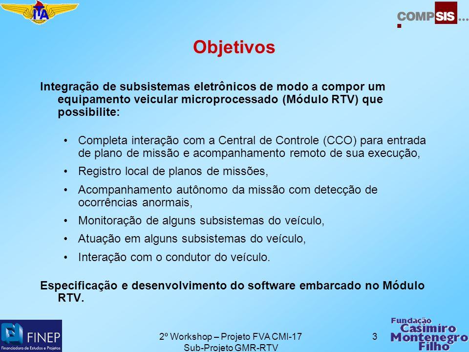 2º Workshop – Projeto FVA CMI-17 Sub-Projeto GMR-RTV 14 Próximos Passos Conclusão do DES (Documento de Especificação do Sistema): especificação detalhada das funcionalidades do hardware e do software do CDB.