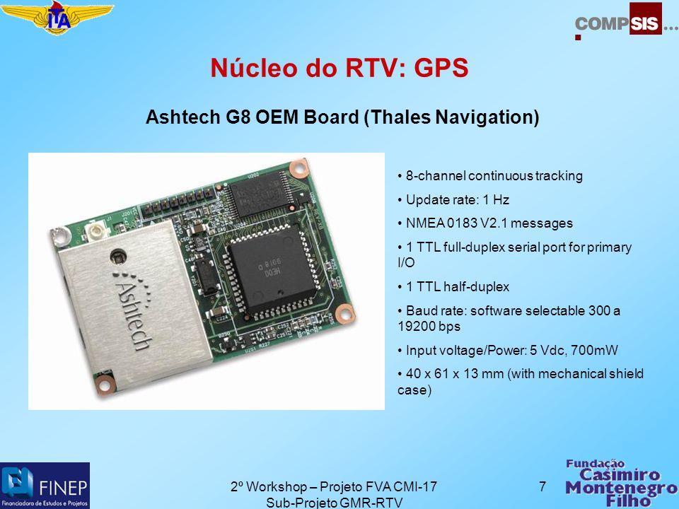 2º Workshop – Projeto FVA CMI-17 Sub-Projeto GMR-RTV 8 Núcleo do RTV: Telefone Sony Ericsson T200 + cabo de dados RS-232 DRS-11 Telefone GPRS Velocidade de dados: até 43.2 kbps Suporte a SMS Obs: Cobertura pela TIM
