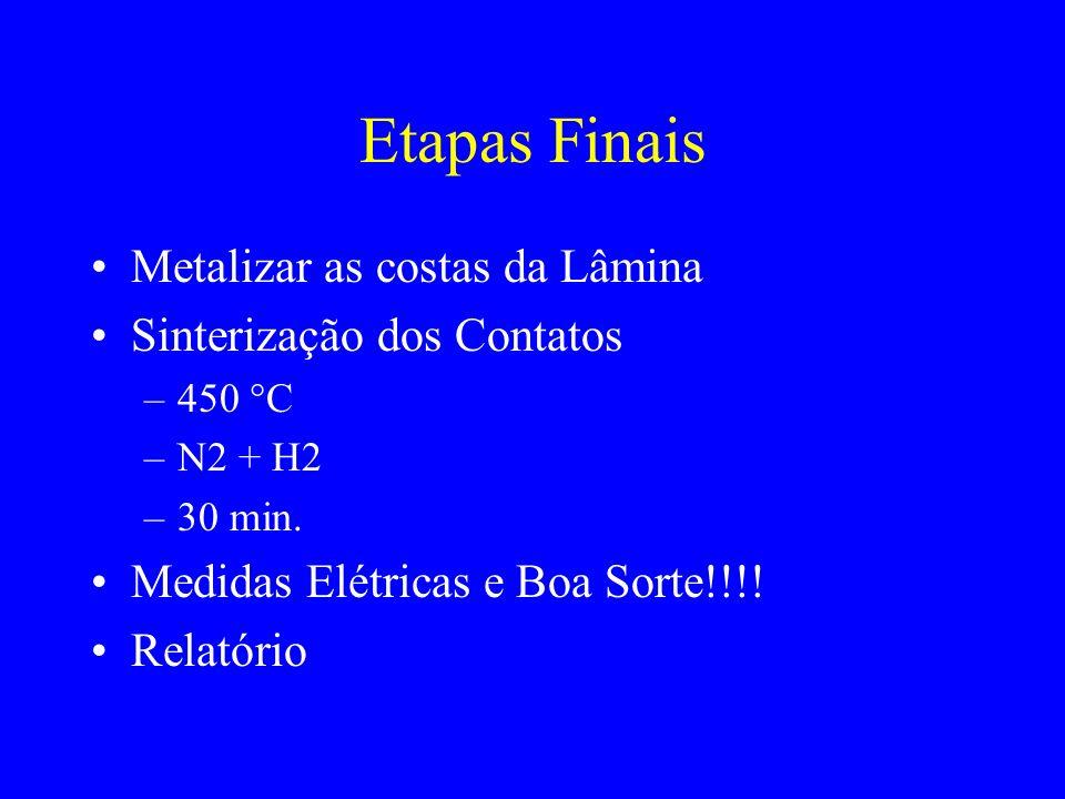 Etapas Finais Metalizar as costas da Lâmina Sinterização dos Contatos –450 C –N2 + H2 –30 min. Medidas Elétricas e Boa Sorte!!!! Relatório