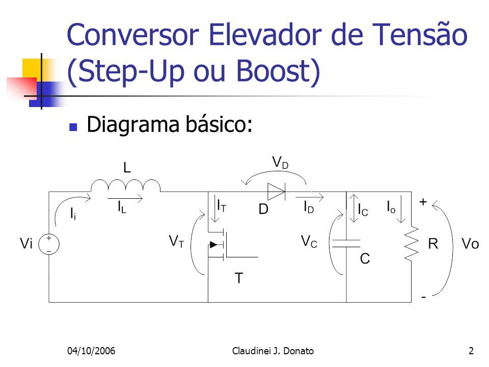 04/10/2006Claudinei J. Donato2 Conversor Elevador de Tensão (Step-Up ou Boost) Diagrama básico: