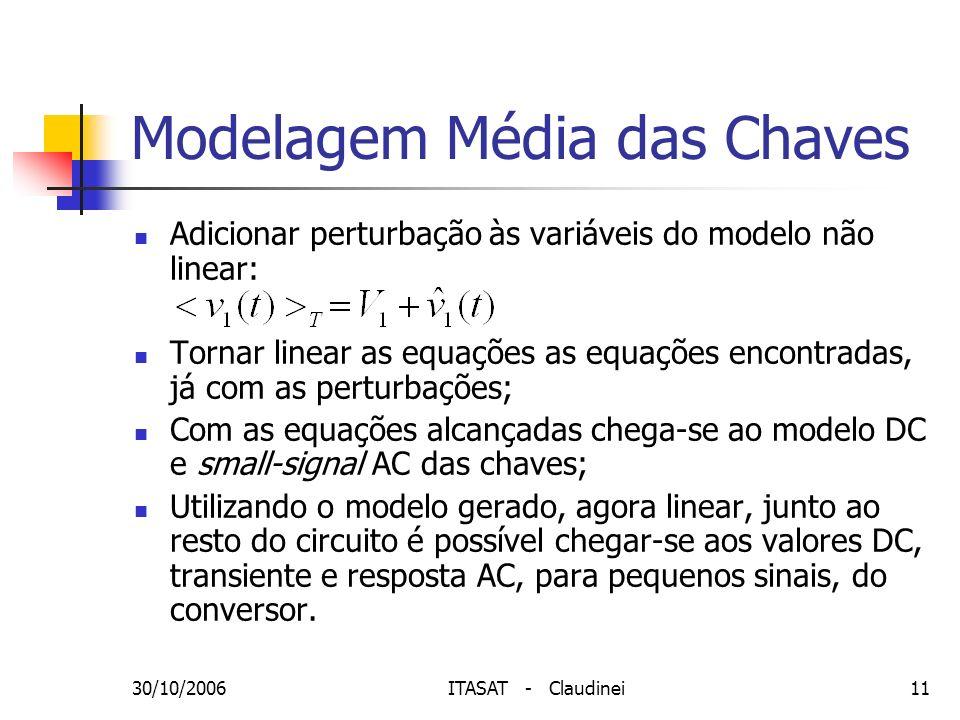 30/10/2006ITASAT - Claudinei11 Modelagem Média das Chaves Adicionar perturbação às variáveis do modelo não linear: Tornar linear as equações as equaçõ