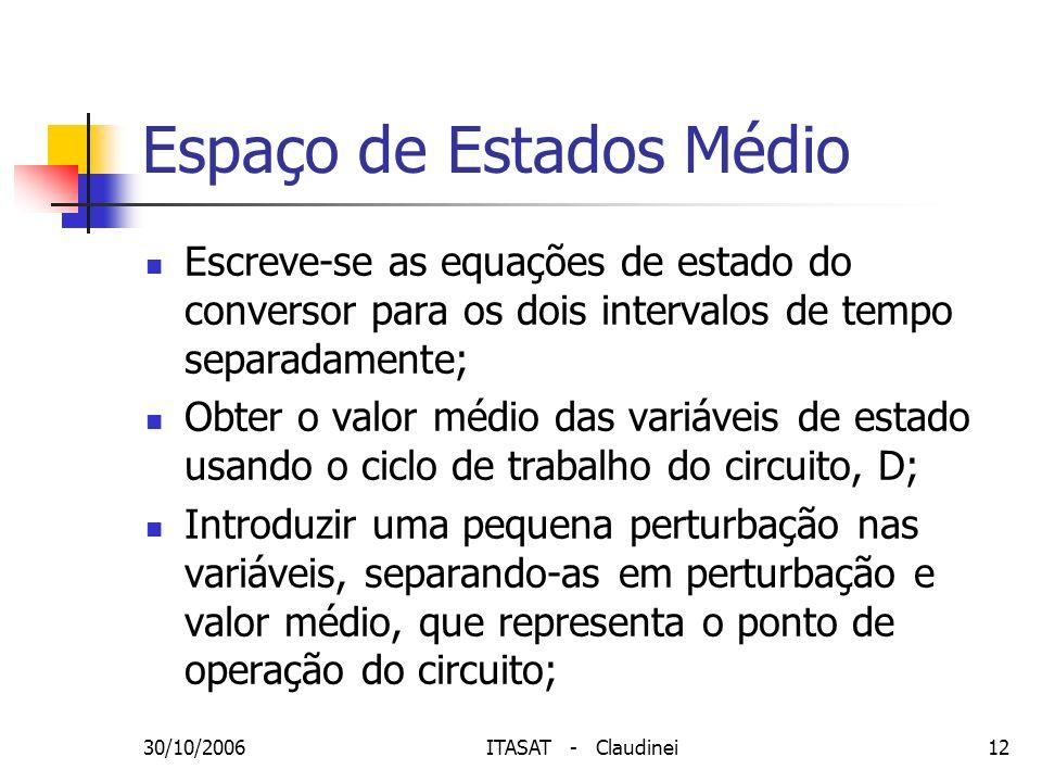 30/10/2006ITASAT - Claudinei12 Espaço de Estados Médio Escreve-se as equações de estado do conversor para os dois intervalos de tempo separadamente; O