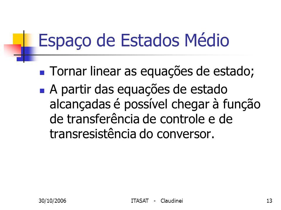 30/10/2006ITASAT - Claudinei13 Espaço de Estados Médio Tornar linear as equações de estado; A partir das equações de estado alcançadas é possível cheg