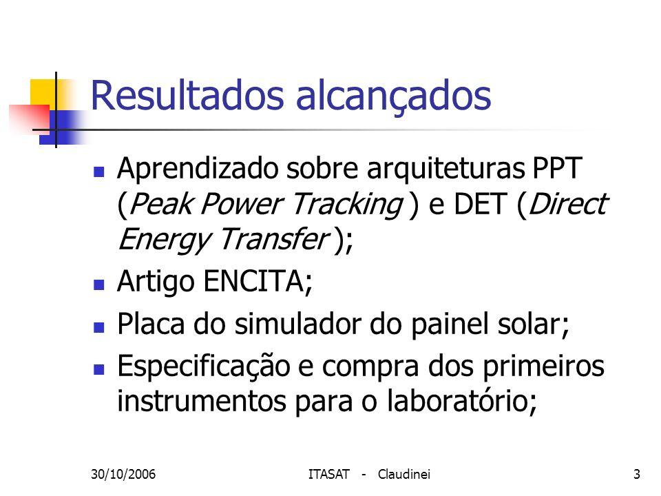 30/10/2006ITASAT - Claudinei3 Resultados alcançados Aprendizado sobre arquiteturas PPT (Peak Power Tracking ) e DET (Direct Energy Transfer ); Artigo
