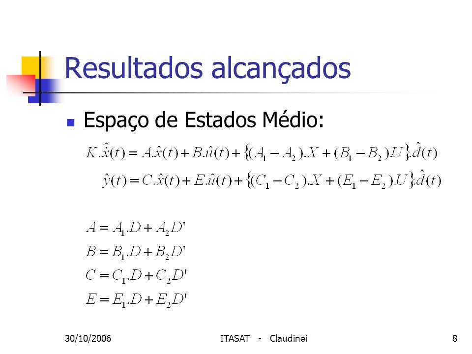 30/10/2006ITASAT - Claudinei9 Resultados alcançados Função de transferência do SR: