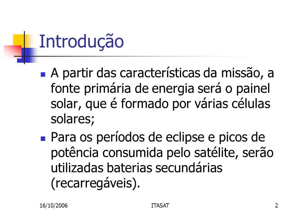 16/10/2006ITASAT2 Introdução A partir das características da missão, a fonte primária de energia será o painel solar, que é formado por várias células