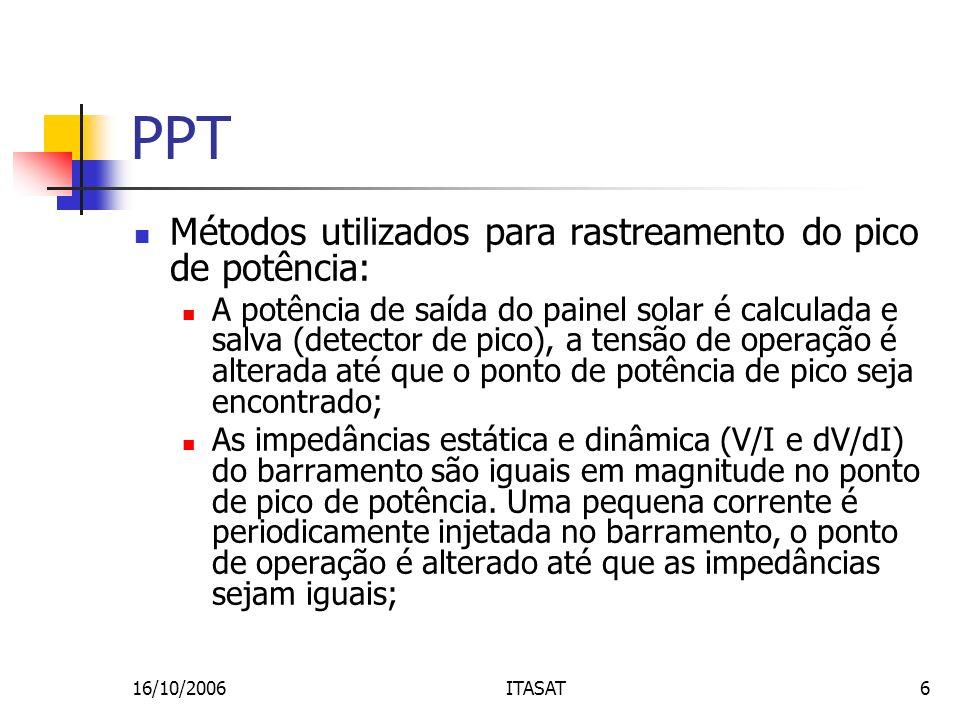 16/10/2006ITASAT6 PPT Métodos utilizados para rastreamento do pico de potência: A potência de saída do painel solar é calculada e salva (detector de p