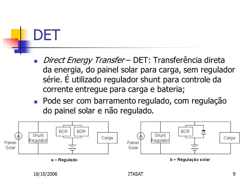 16/10/2006ITASAT9 DET Direct Energy Transfer – DET: Transferência direta da energia, do painel solar para carga, sem regulador série. É utilizado regu