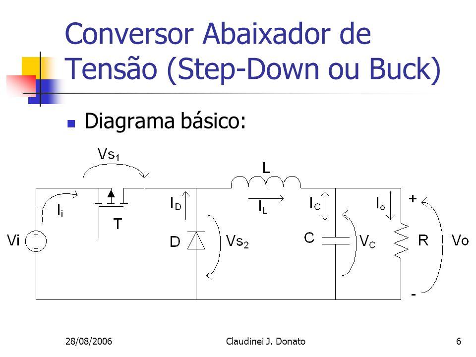 28/08/2006Claudinei J. Donato6 Conversor Abaixador de Tensão (Step-Down ou Buck) Diagrama básico: