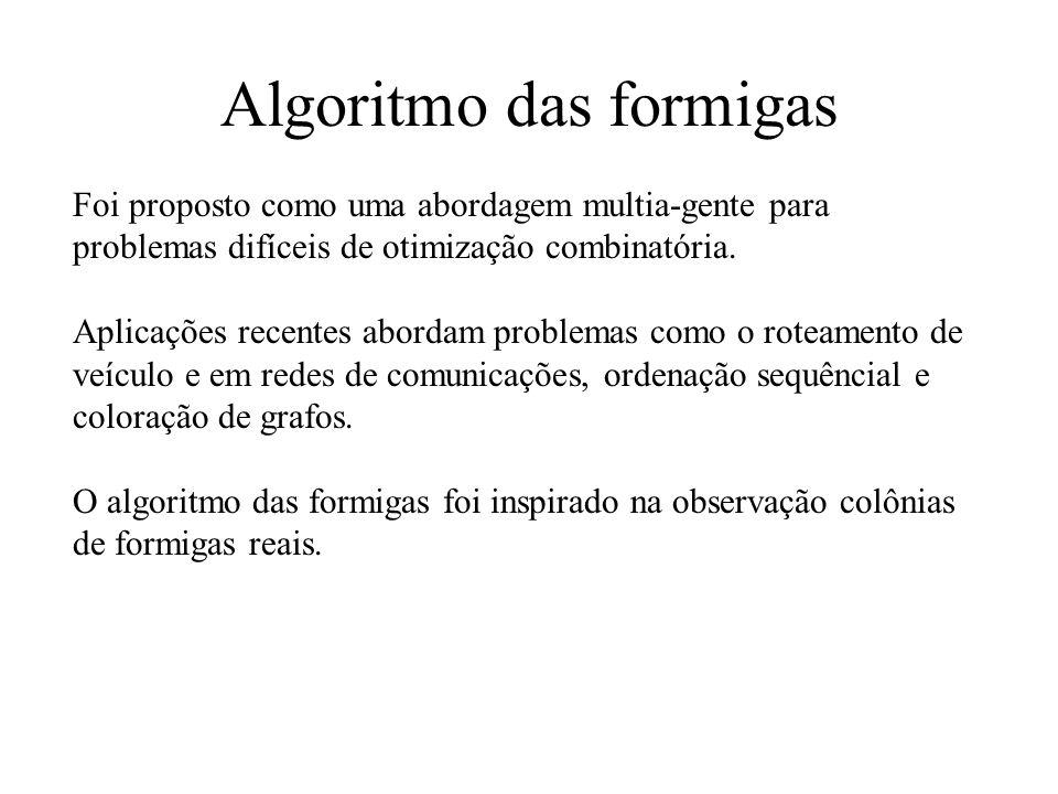 Algoritmo das formigas Foi proposto como uma abordagem multia-gente para problemas difíceis de otimização combinatória.