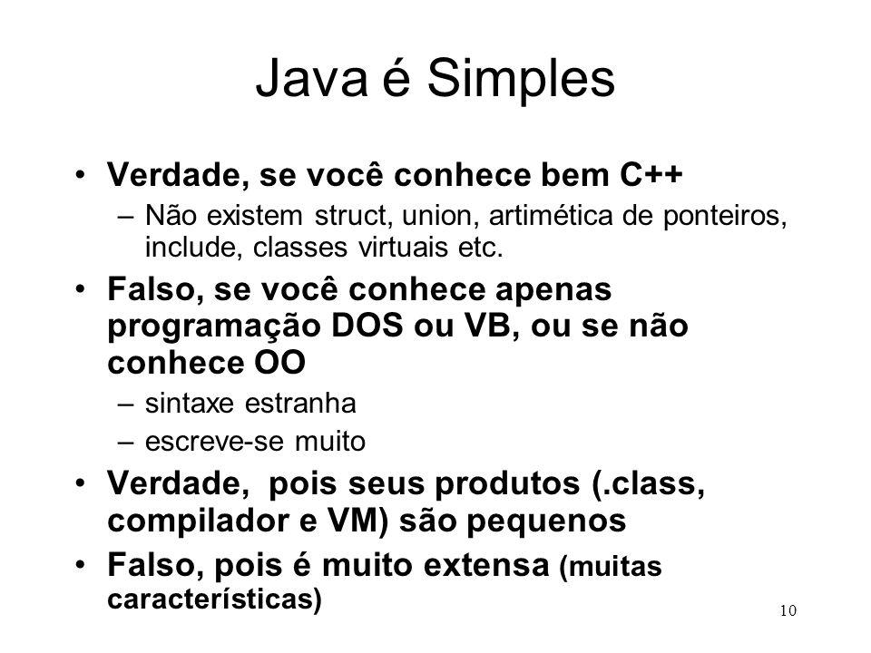 9 Características da Linguagem Java Simples Orientada a Objetos Distribuída Robusta Segura Neutra quanto à Arquitetura Write Once Run AnywherePortátil