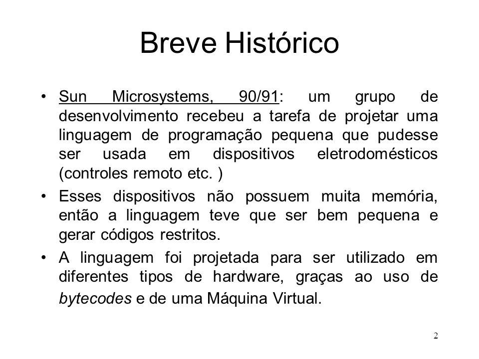 2 Breve Histórico Sun Microsystems, 90/91: um grupo de desenvolvimento recebeu a tarefa de projetar uma linguagem de programação pequena que pudesse ser usada em dispositivos eletrodomésticos (controles remoto etc.