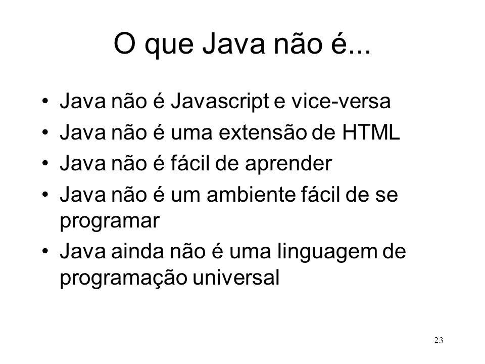 22 Java é a Linguagem da Internet (cont) Do lado do Servidor, isto é verdade graças aos servlets (applets que rodam no servidor e que substituem os sc