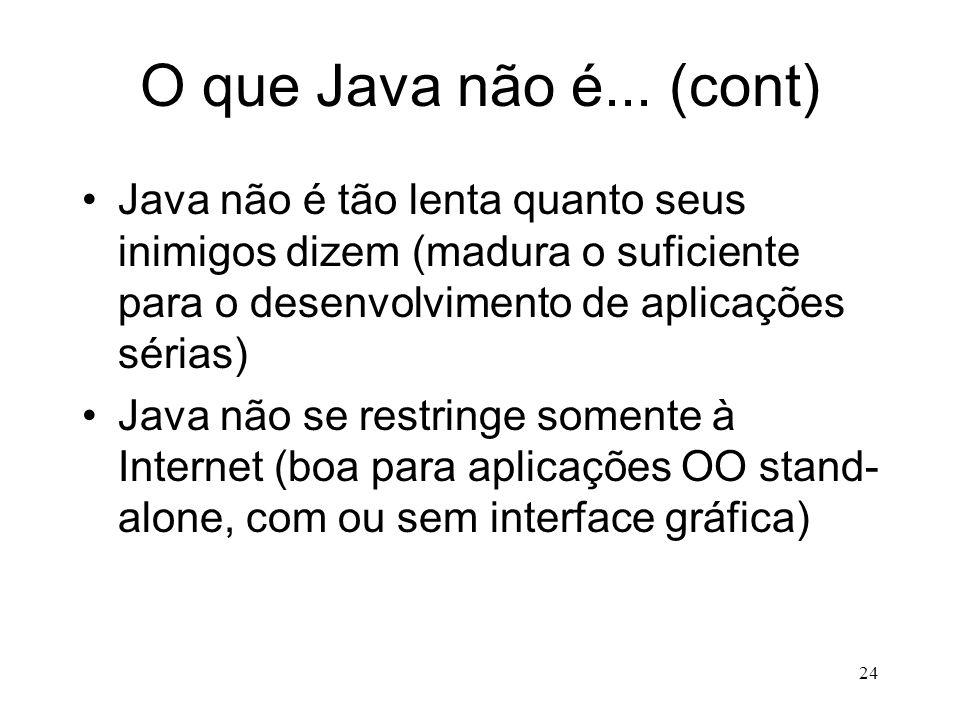 23 O que Java não é... Java não é Javascript e vice-versa Java não é uma extensão de HTML Java não é fácil de aprender Java não é um ambiente fácil de