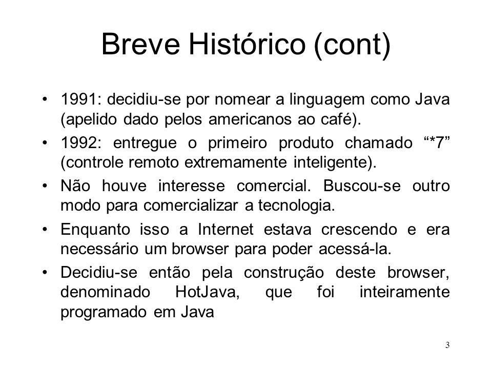 3 Breve Histórico (cont) 1991: decidiu-se por nomear a linguagem como Java (apelido dado pelos americanos ao café).