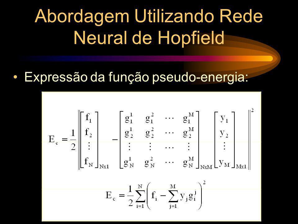 Expressão da função pseudo-energia: