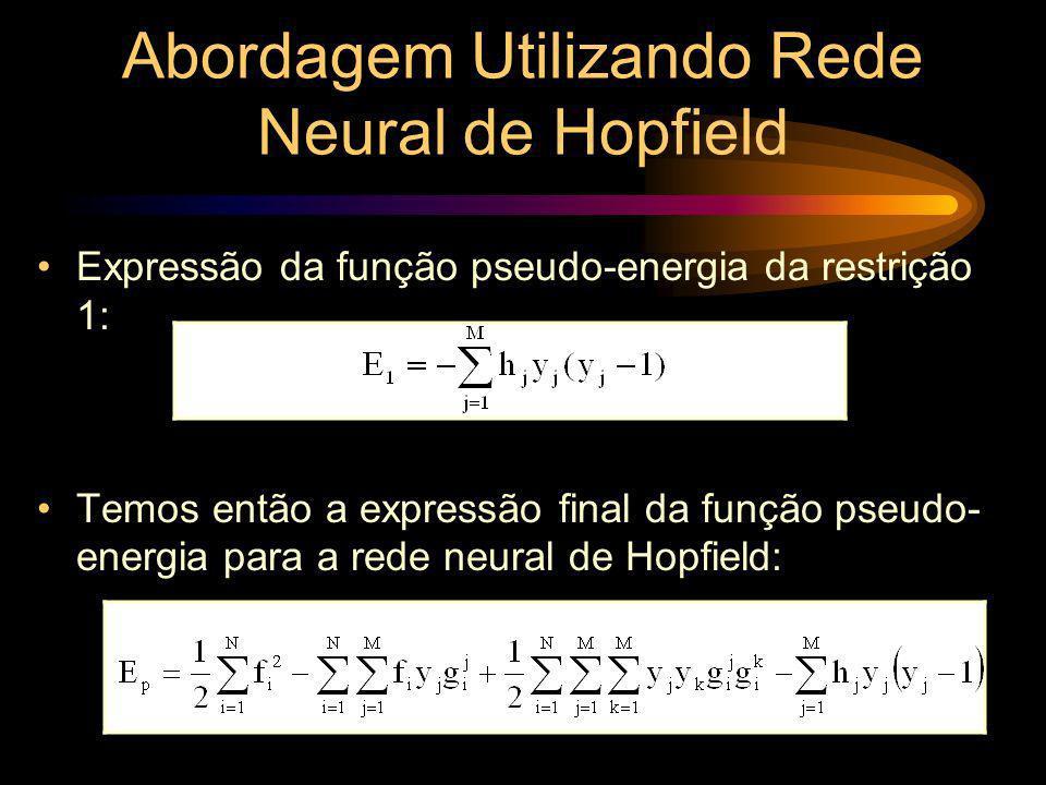Abordagem Utilizando Rede Neural de Hopfield Expressão da função pseudo-energia da restrição 1: Temos então a expressão final da função pseudo- energi