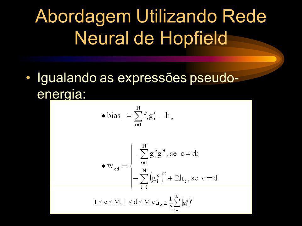 Abordagem Utilizando Rede Neural de Hopfield Igualando as expressões pseudo- energia: 1 c M, 1 d M e
