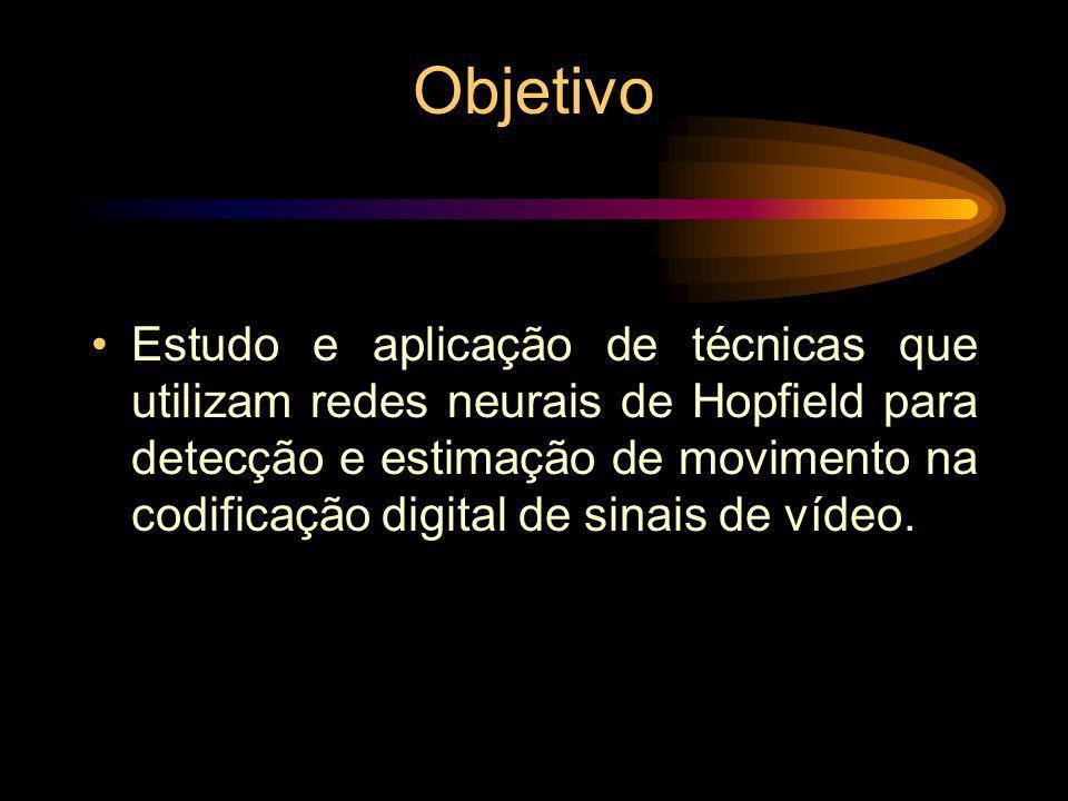 Objetivo Estudo e aplicação de técnicas que utilizam redes neurais de Hopfield para detecção e estimação de movimento na codificação digital de sinais