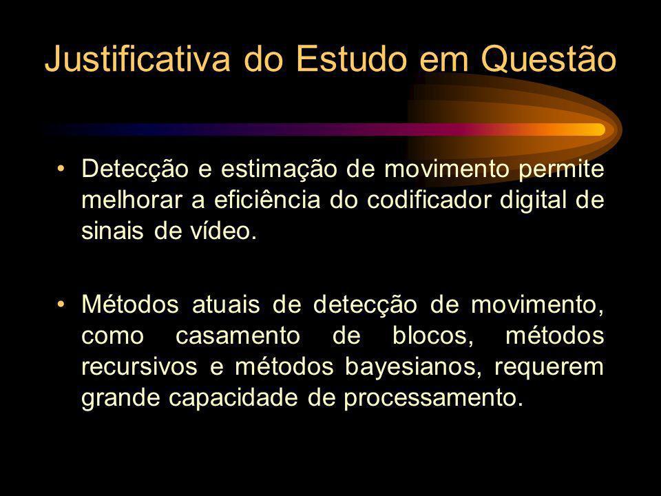 Justificativa do Estudo em Questão Detecção e estimação de movimento permite melhorar a eficiência do codificador digital de sinais de vídeo. Métodos