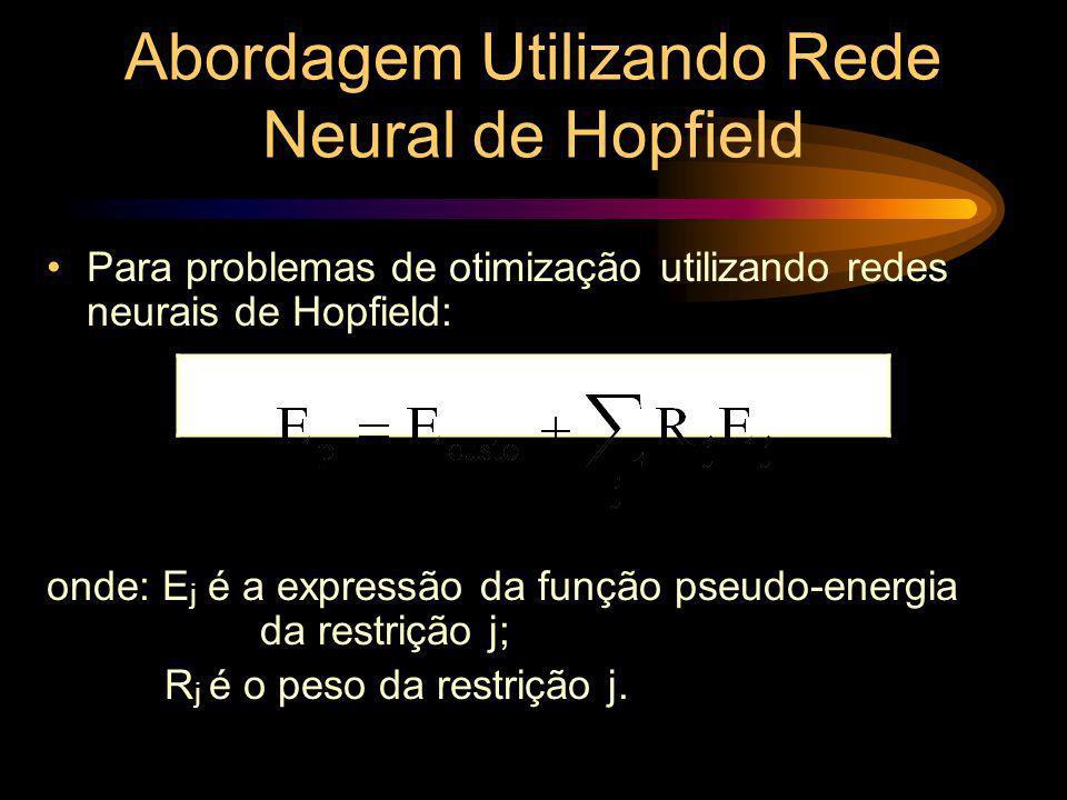 Abordagem Utilizando Rede Neural de Hopfield Para problemas de otimização utilizando redes neurais de Hopfield: onde: E j é a expressão da função pseu