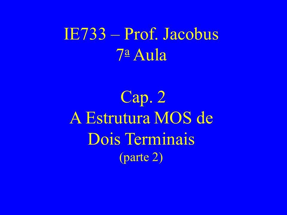 IE733 – Prof. Jacobus 7 a Aula Cap. 2 A Estrutura MOS de Dois Terminais (parte 2)