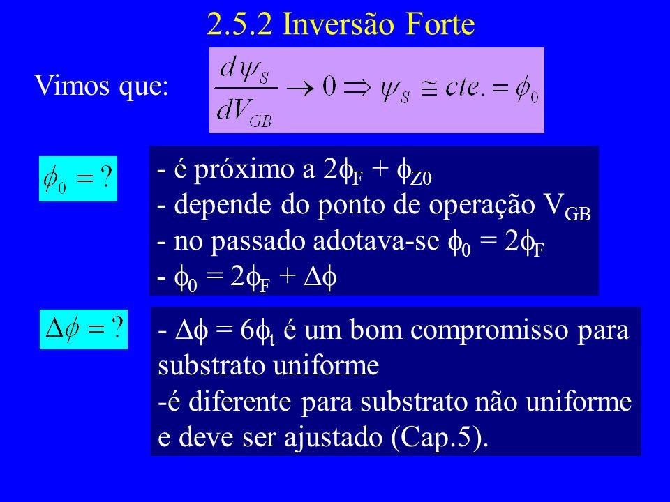 2.5.2 Inversão Forte Vimos que: - é próximo a 2 F + Z0 - depende do ponto de operação V GB - no passado adotava-se 0 = 2 F - 0 = 2 F + - = 6 t é um bom compromisso para substrato uniforme -é diferente para substrato não uniforme e deve ser ajustado (Cap.5).