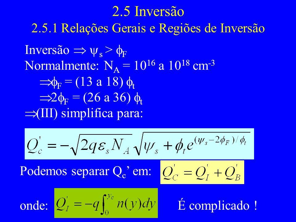 2.5 Inversão 2.5.1 Relações Gerais e Regiões de Inversão Inversão s > F Normalmente: N A = 10 16 a 10 18 cm -3 F = (13 a 18) t 2 F = (26 a 36) t (III) simplifica para: Podemos separar Q c em: onde:É complicado !