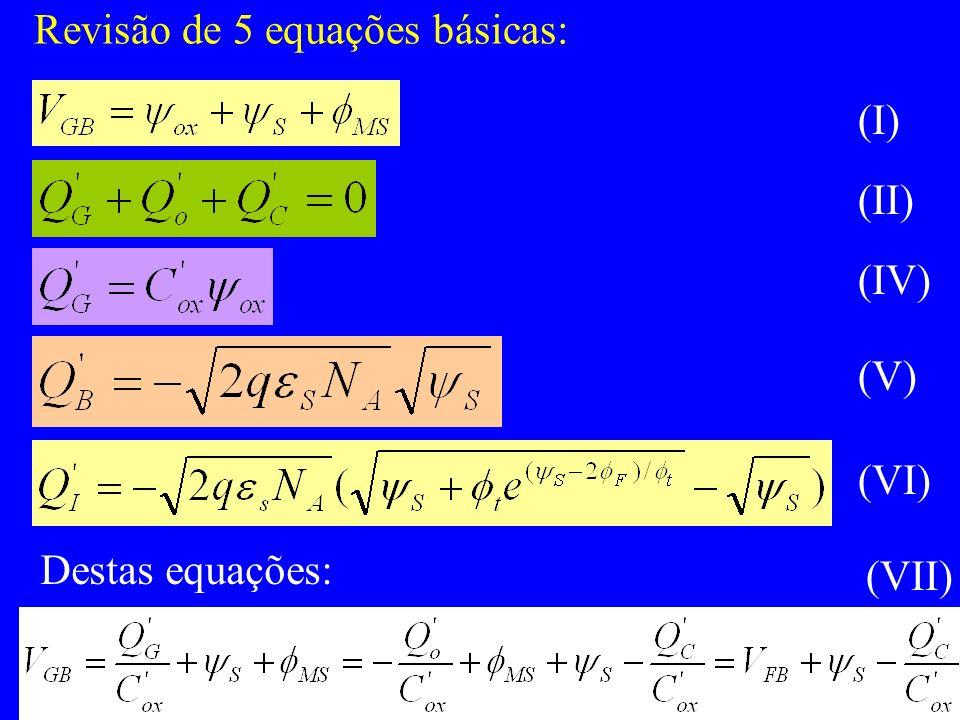 Revisão de 5 equações básicas: (I) (II) (IV) (V) (VI) Destas equações: (VII)