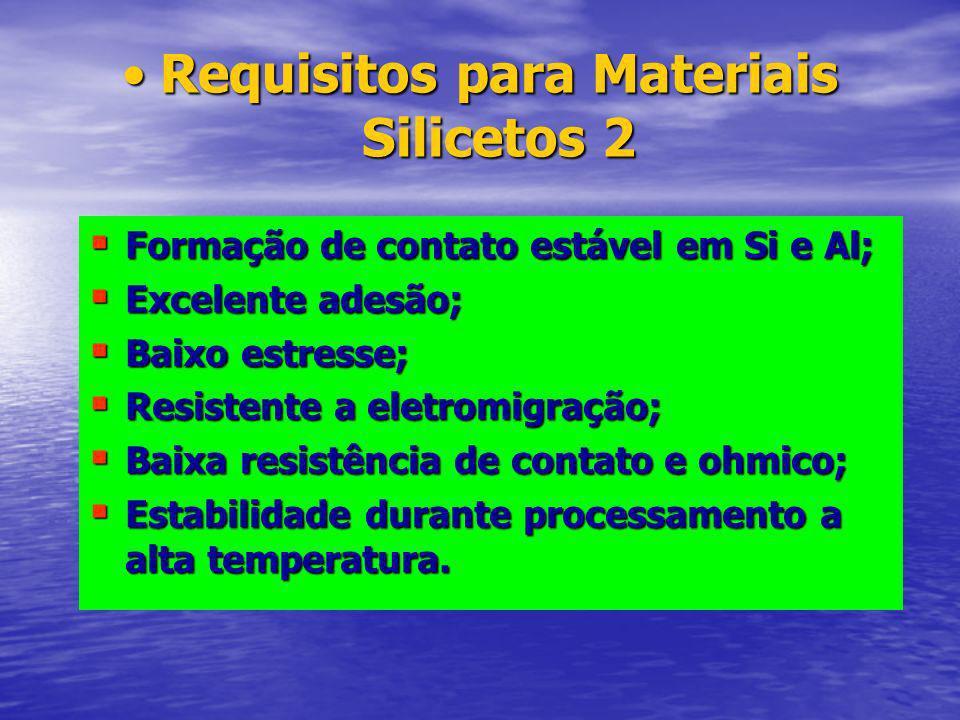 Requisitos para Materiais Silicetos 2Requisitos para Materiais Silicetos 2 Formação de contato estável em Si e Al; Formação de contato estável em Si e Al; Excelente adesão; Excelente adesão; Baixo estresse; Baixo estresse; Resistente a eletromigração; Resistente a eletromigração; Baixa resistência de contato e ohmico; Baixa resistência de contato e ohmico; Estabilidade durante processamento a alta temperatura.