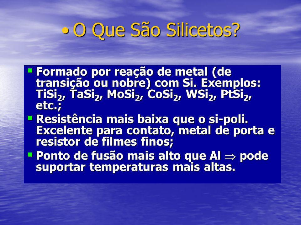 Estrutura PolicetoEstrutura Policeto Si-poli/siliceto Formado depositando o metal sobre o si-poli e reagindo para formar o siliceto + si-poli: Deposição do metal; Recozimento para formar o siliceto; Remoção seletiva do metal não reagido.