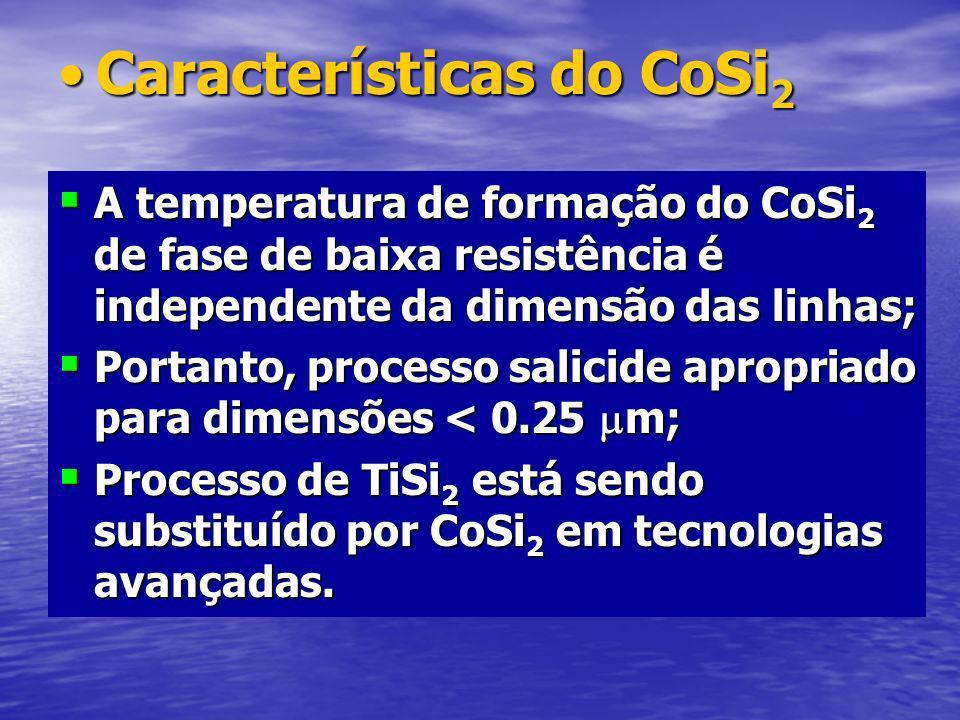 Características do CoSi 2Características do CoSi 2 A temperatura de formação do CoSi 2 de fase de baixa resistência é independente da dimensão das linhas; A temperatura de formação do CoSi 2 de fase de baixa resistência é independente da dimensão das linhas; Portanto, processo salicide apropriado para dimensões < 0.25 m; Portanto, processo salicide apropriado para dimensões < 0.25 m; Processo de TiSi 2 está sendo substituído por CoSi 2 em tecnologias avançadas.