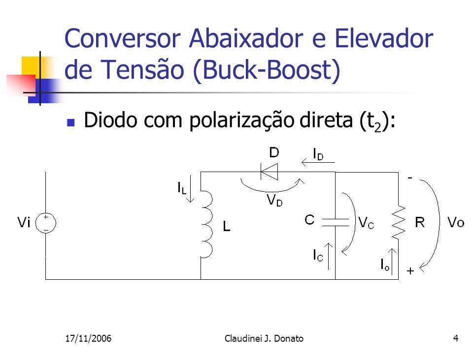 17/11/2006Claudinei J. Donato4 Conversor Abaixador e Elevador de Tensão (Buck-Boost) Diodo com polarização direta (t 2 ):