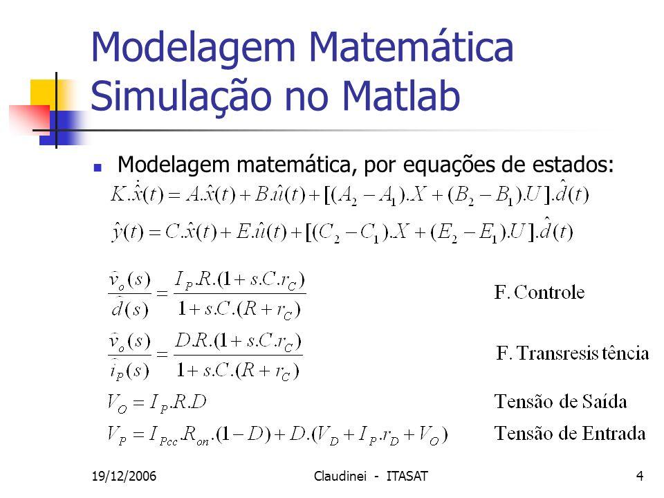 19/12/2006Claudinei - ITASAT5 Modelo de Simulação SPICE Circuito a ser modelado: