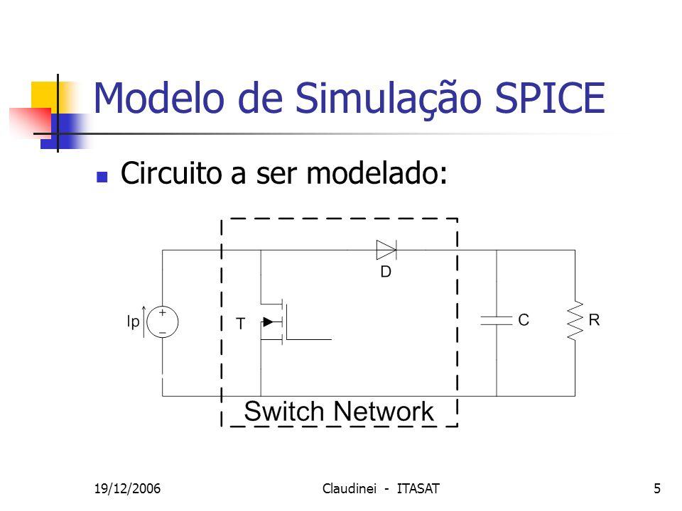 19/12/2006Claudinei - ITASAT16 SIMULINK - Malha Fechada Realimentação de Tensão e Corrente Iout = 0,22 A Vout = 14 V D = 0,5