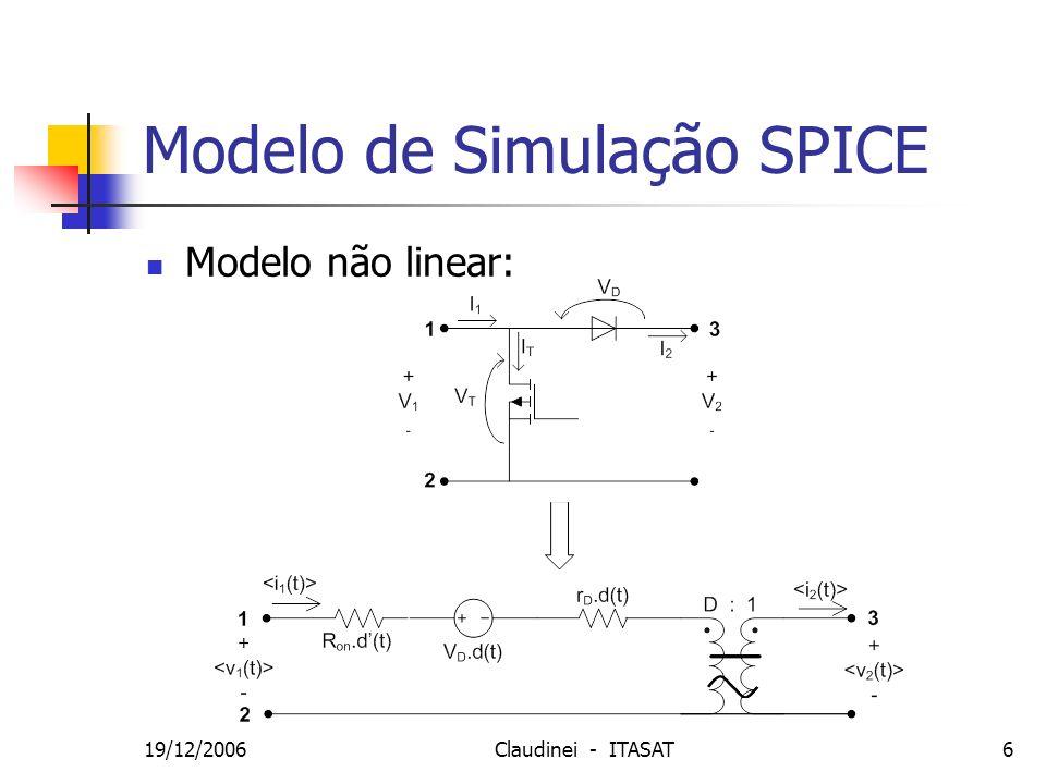 19/12/2006Claudinei - ITASAT17 SPICE - Malha Fechada Realimentação de Tensão e Corrente D = 0,5 Iout = 0,22 A Vout = 14 V