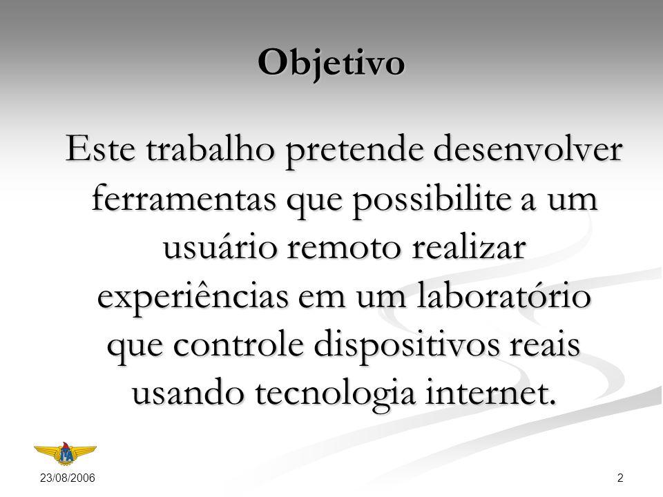 23/08/2006 2 Objetivo Este trabalho pretende desenvolver ferramentas que possibilite a um usuário remoto realizar experiências em um laboratório que controle dispositivos reais usando tecnologia internet.