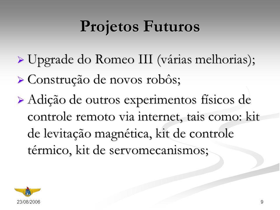 23/08/2006 9 Projetos Futuros Upgrade do Romeo III (várias melhorias); Upgrade do Romeo III (várias melhorias); Construção de novos robôs; Construção de novos robôs; Adição de outros experimentos físicos de controle remoto via internet, tais como: kit de levitação magnética, kit de controle térmico, kit de servomecanismos; Adição de outros experimentos físicos de controle remoto via internet, tais como: kit de levitação magnética, kit de controle térmico, kit de servomecanismos;