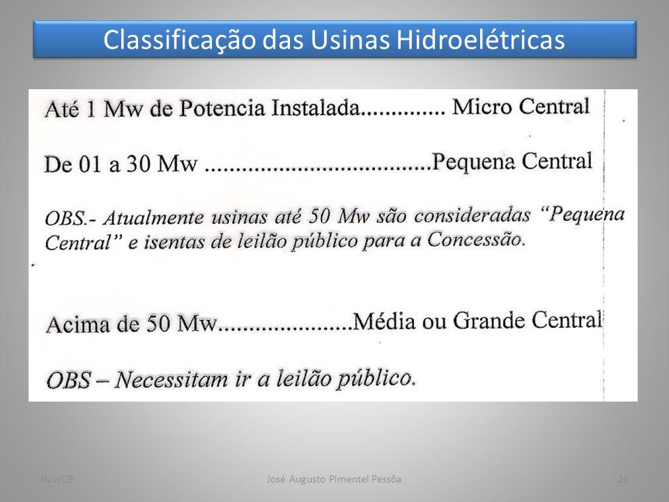 Classificação das Usinas Hidroelétricas 26Nov/09José Augusto Pimentel Pessôa