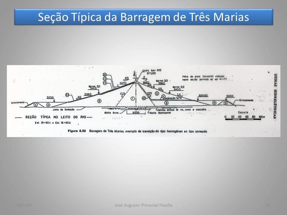 Seção Típica da Barragem de Três Marias 33Nov/09José Augusto Pimentel Pessôa