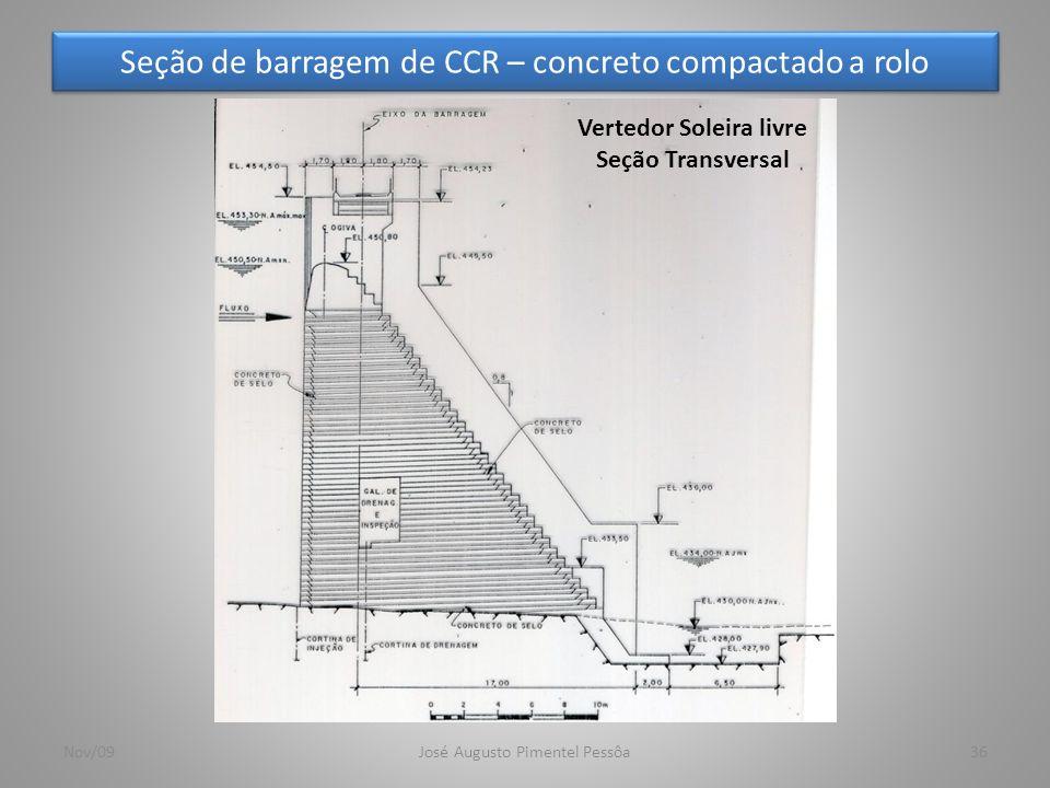 Seção de barragem de CCR – concreto compactado a rolo 36Nov/09José Augusto Pimentel Pessôa Vertedor Soleira livre Seção Transversal