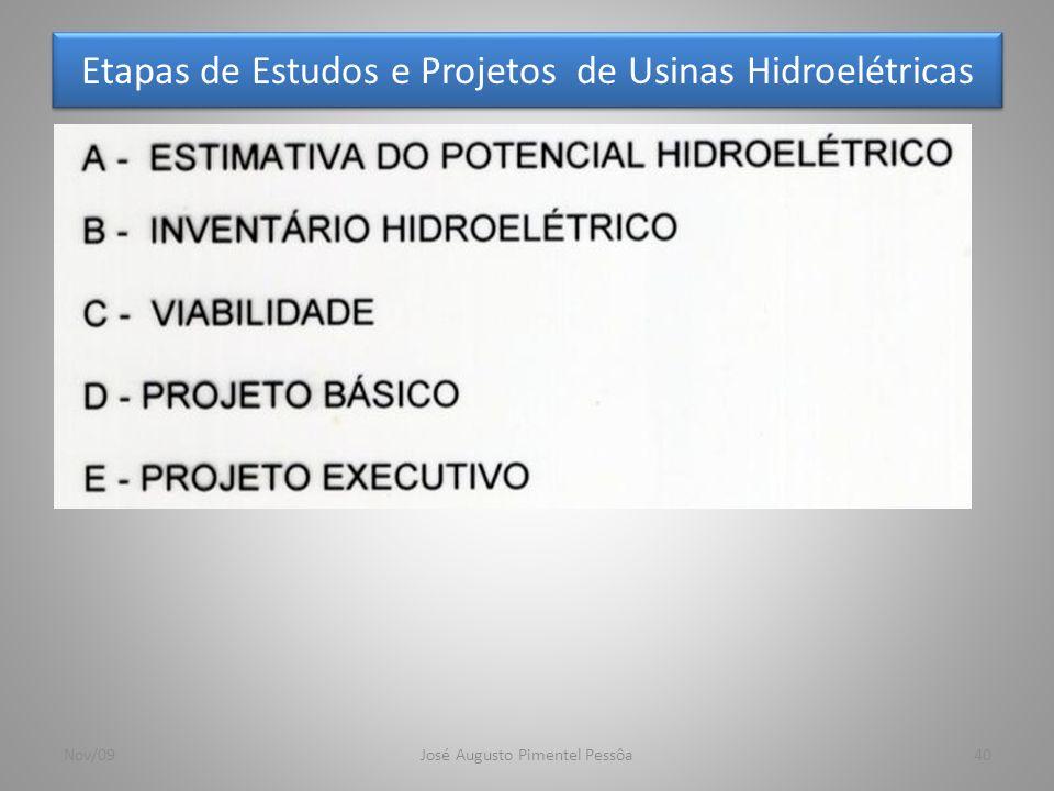 Etapas de Estudos e Projetos de Usinas Hidroelétricas 40Nov/09José Augusto Pimentel Pessôa