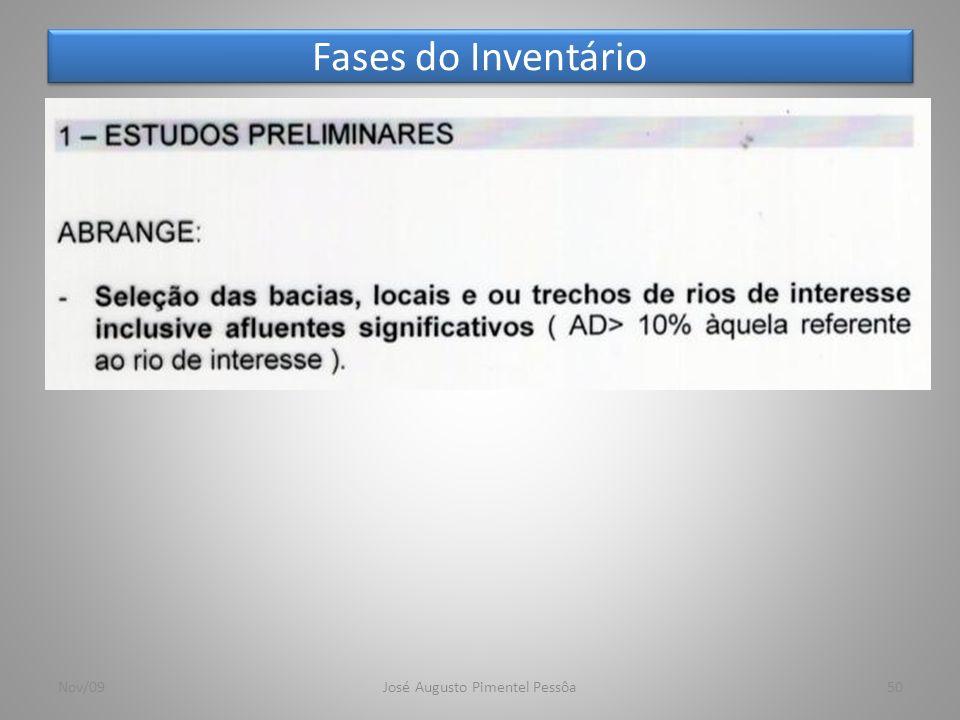 Fases do Inventário 50Nov/09José Augusto Pimentel Pessôa
