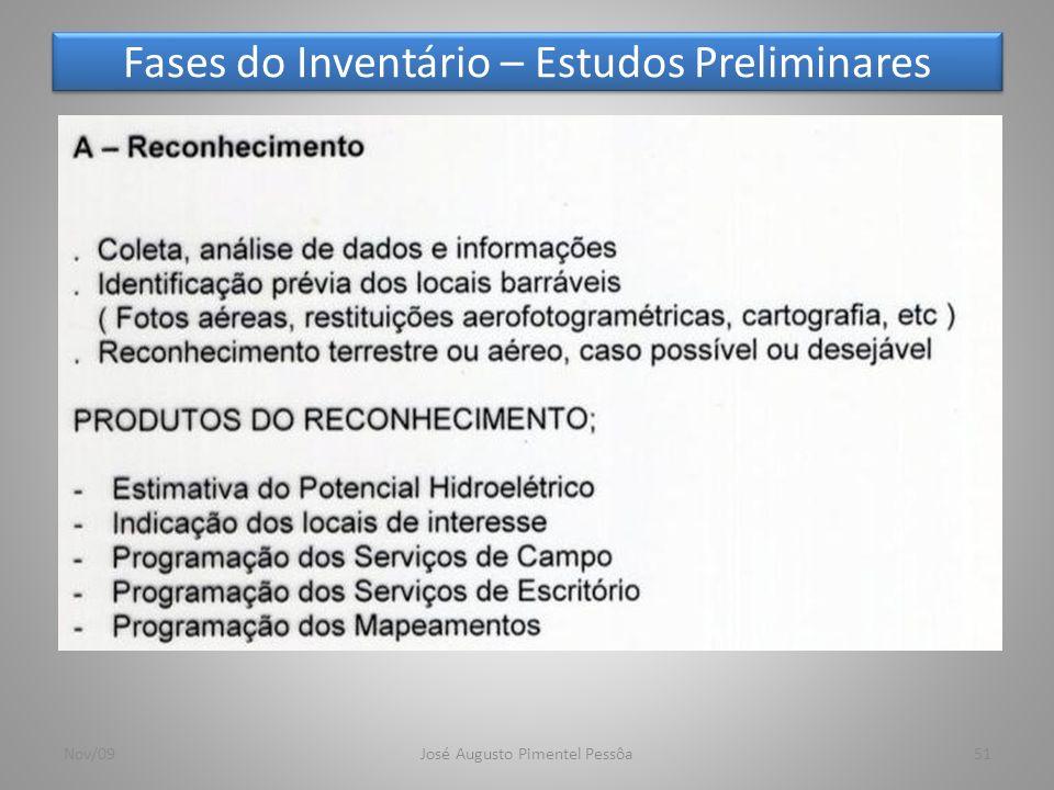 Fases do Inventário – Estudos Preliminares 51Nov/09José Augusto Pimentel Pessôa