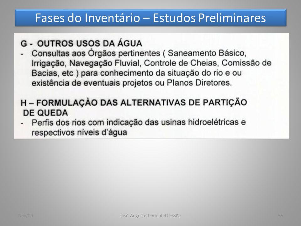 Fases do Inventário – Estudos Preliminares 55Nov/09José Augusto Pimentel Pessôa
