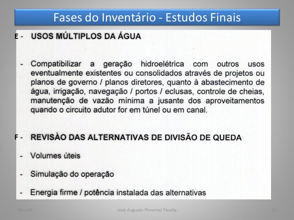 Fases do Inventário - Estudos Finais 62Nov/09José Augusto Pimentel Pessôa F E